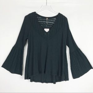 FREE PEOPLE Black Boho Bell Sleeve Top NWT S Small